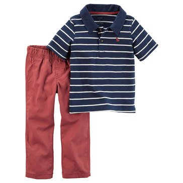 Carter's Toddler Boys' Stripe Polo Red Woven Pants, 2-Piece Set