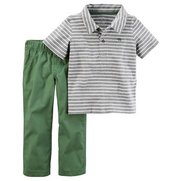 Carter's Toddler Boys' Stripe Polo Woven Pants, 2-Piece Set