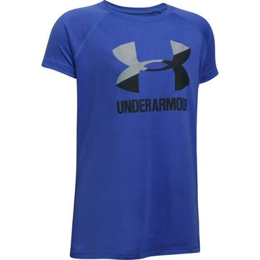 Under Armour Girls' Big Logo Tee, Purple/ Grey