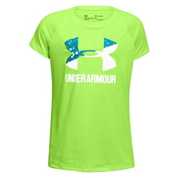 Under Armour Girls' Big Logo Tee, Lime/ Blue