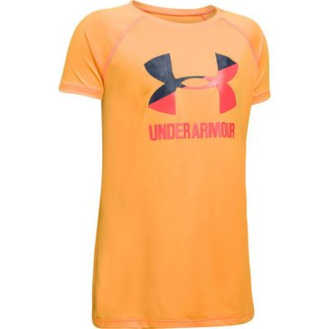 Under Armour Girls' Big Logo Tee, Orange Peel/ Grey