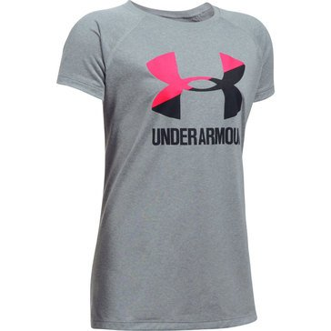 Under Armour Girls' Big Logo Tee, Steel Light Heather/ Penta Pink