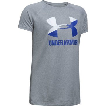Under Armour Girls' Big Logo Tee, Steel Light Heather/ Purple