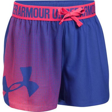 Under Armour Girls' Play Up Graphic Shorts, Purple/ Pink