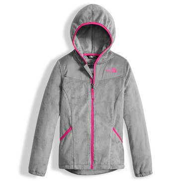 The North Face Big Girls' Fleece Hoodie Jacket, Metallic Silver