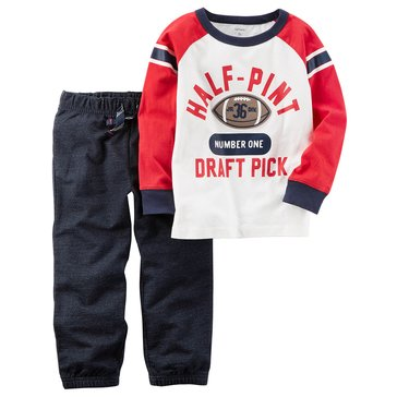 Carter's Toddler Boys' Half-Pint Tee Chambray Jogger Pants, 2-Piece Set
