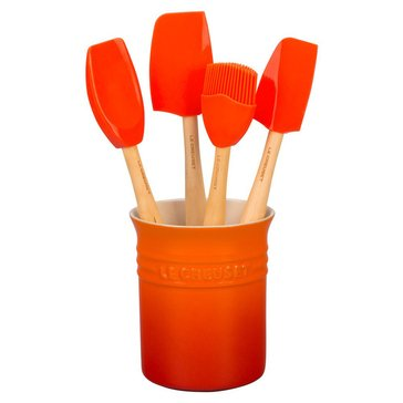 Le Creuset Craft Series 5-Piece Utensil Set With Crock, Flame