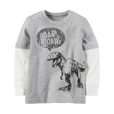 Carter's Toddler Boys' Dino Roar Double Decker Tee, Heather