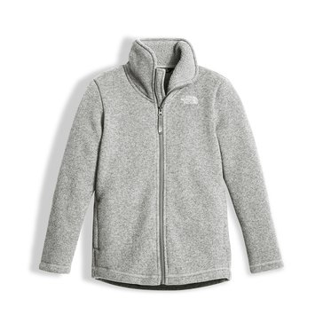 The North Face Big Girls' Crescent Full Zip Fleece Jacket, Light Grey Heather