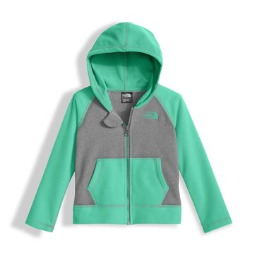 The North Face Toddler Girls' Glacier Full Zip Hoodie, Grey Green