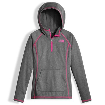 The North Face Big Girls' Glacier Tech 1/4 Zip Hoodie, Grey Heather