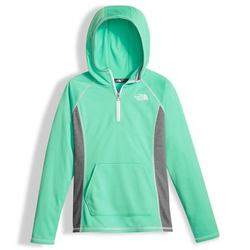 The North Face Big Girls' Glacier Tech 1/4 Zip Hoodie, Green