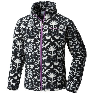Columbia Little Girls' Benton Springs Print Fleece Jacket, Black