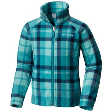 Columbia Little Girls' Benton Springs Print Fleece Jacket, Pacific Rim