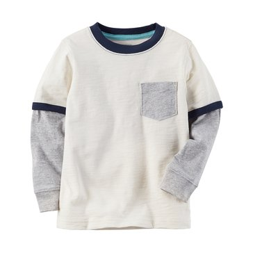 Carter's Little Boys' White Pocket Tee, Ivory