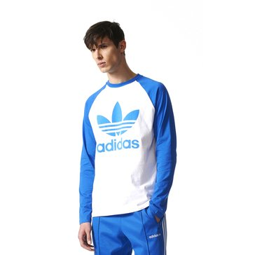 Adidas Men's Original Raglan Long Sleeve Tee - White / Blue