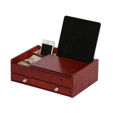 Mele & Co Davin Valet and Charging Station, Walnut Burl Wood