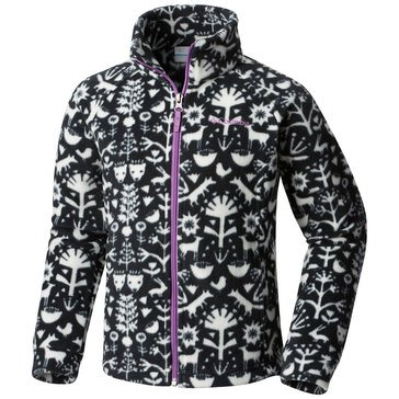 Columbia Big Girls' Benton Springs Print Fleece Jacket, Black