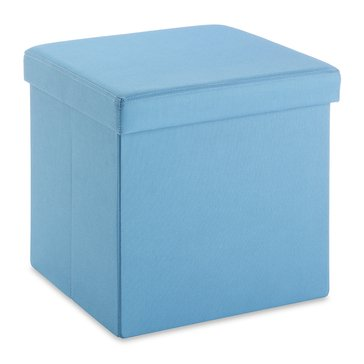 Whitmor Folding Storage Ottoman Cube, Parisian Blue