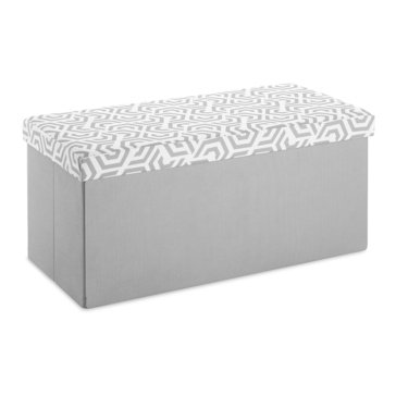 Whitmor Folding Rectangular Ottoman, Paloma Gray - Geo Wheel