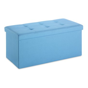 Whitmor Folding Rectangular Ottoman, Parisian Blue