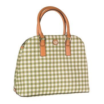 Tory Burch Kerrington Gingham Open Dome Leather Satchel Green Gingham