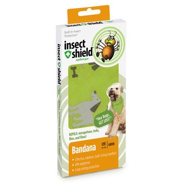 Insect Shield Bug Repellent Dog & Bones Bandana, Green