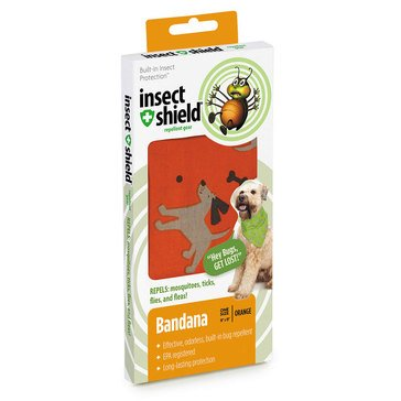 Insect Shield Bug Repellent Dog & Bones Bandana, Orange