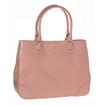 Tory Burch Robinson East West Leather Tote Satchel Rose