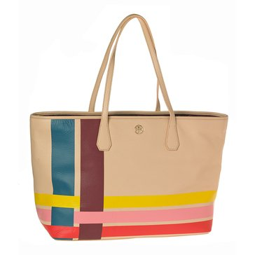 Tory Burch Mutli Color Blake Leather Tote Stripe