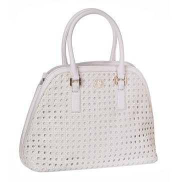 Tory Burch Robinson Basket Weave Open Dome Leather Satchel White