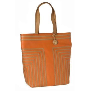 Tory Burch North South Leather Tote Orange Vanchetta