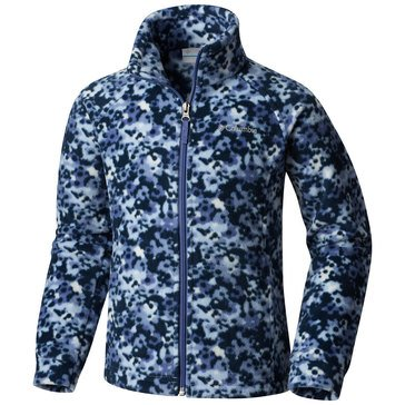 Columbia Big Girls' Benton Springs Print Fleece Jacket, Blue