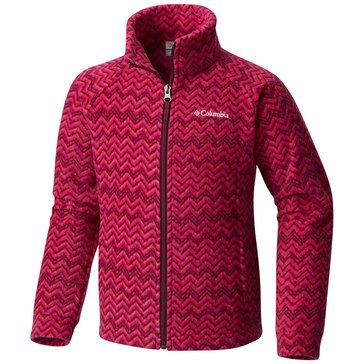 Columbia Big Girls' Benton Springs Print Fleece Jacket, Raspberry