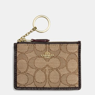 Coach Box Pogram Signature Jacquard Mini Skinny Wallet Khaki/ Brown