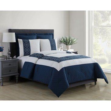 Harbor Home Platinum Collection 5-Piece Comforter Set, Muse Navy - Queen