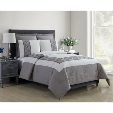 Harbor Home Platinum Collection 5-Piece Comforter Set, Muse Grey - Queen
