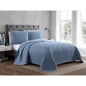 Harbor Home Platinum Collection 3-Piece Quilt Set, Nikola Blue - King