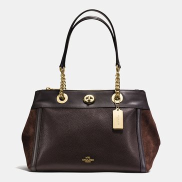 Coach Mixed Leather Turnlock Edie Carryall Chestnut
