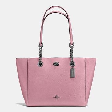 Coach Polished Pebble Turnlock Chain Tote 27 Dusty Rose