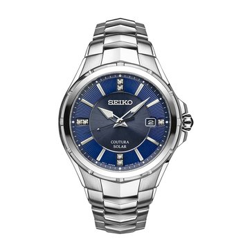 Seiko Men's Solar Coutura Diamond Accent Stainless Steel Watch, 43mm