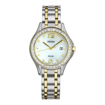Seiko Women's Core Solar Swarovski Crystal Accented/Two-Tone Watch, 29mm