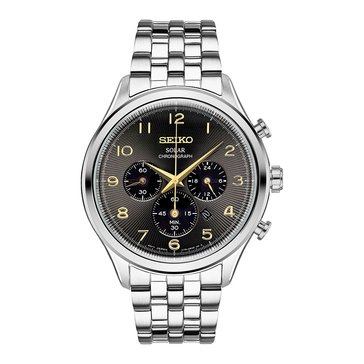 Seiko Men's Solar Chronograph Classic Stainless Steel Watch, 42mm