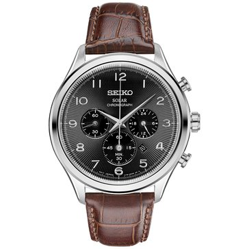 Seiko Men's Solar Chronograph Classic Brown Leather Watch, 42mm