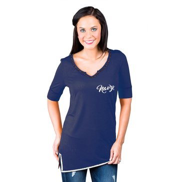 Game Day Women's Beaded Neck USN Tee