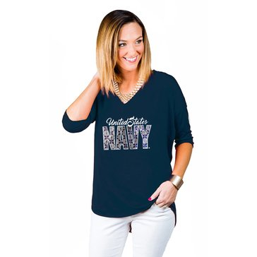 Game Day Women's Weekender V-neck Script USN Block Flowered Tee