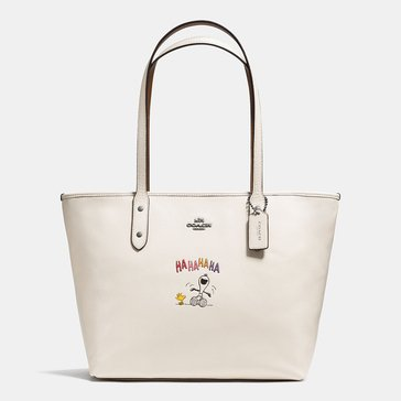 Coach Snoopy City Zip Tote Chalk