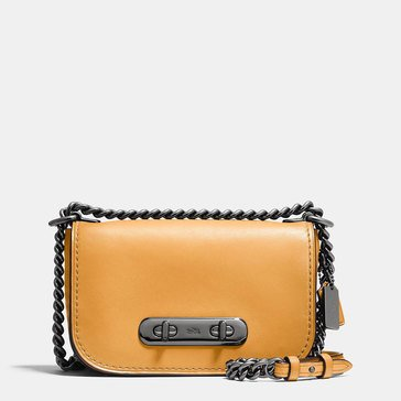 Coach Burnished Leather Refresh Coach Swagger 20 Shoulder Bag Yellow Gold Web Exclusive