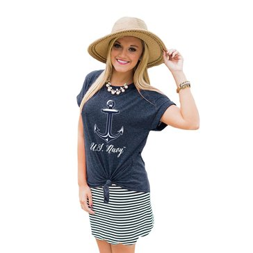 Game Day Women's Fit To Be Tied Cuff Anchor Script U.S.N Tee