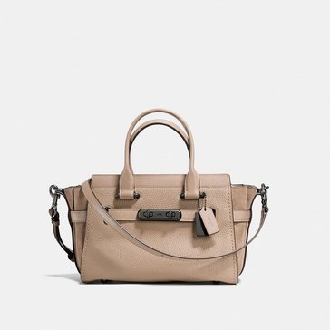 Coach Mixed Leather Refresh Coach Swagger 27 Satchel Stone